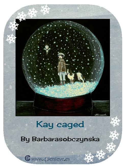"""Bolas de nieve en ilustraciones y dibujos. """"Kay caged"""" por B. Sobczynska"""